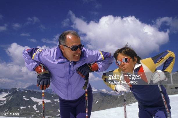 Alphonse Duke of Anjou with his son Louis XX at Val d'Isère ski resort on July 28 1986 in Val d'Isère France