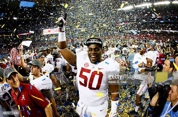 Alphonse Taylor of the Alabama Crimson Tide celebrates their 42 to 13 win over the Missouri Tigers in the SEC Championship game at the Georgia Dome...