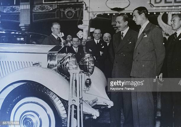 Alphonse XIII former king of Spain and Prince George Duke of Kent visit the auto show at the Olympia in London United Kingdom on October 13 1933