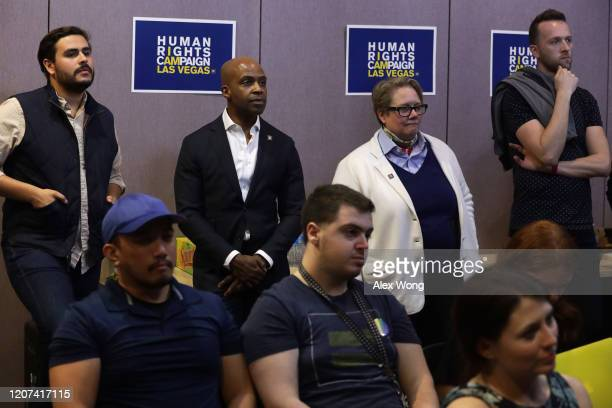 Alphonso David , President of the Human Rights Campaign, participates in a Democratic presidential primary debate watch party at Las Vegas LGBT...