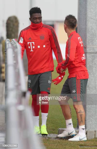 Alphonso Davies and Rafinha of FC Bayern Muenchen arrive for a training session at the club's Saebener Strasse training ground on November 22 2018 in...