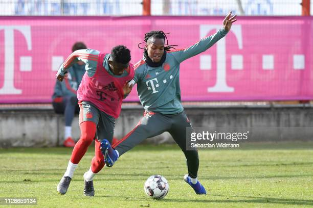 Alphonso Davies and Renato Sanches of Bayern Munich compete for the ball during a FC Bayern Muenchen training session at Saebener Strasse training...