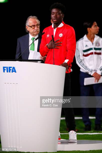 Alphonso Davies Canadian International speaks during the United 2026 presentation to become the host for the 2026 FIFA World Cup during the 68th FIFA...