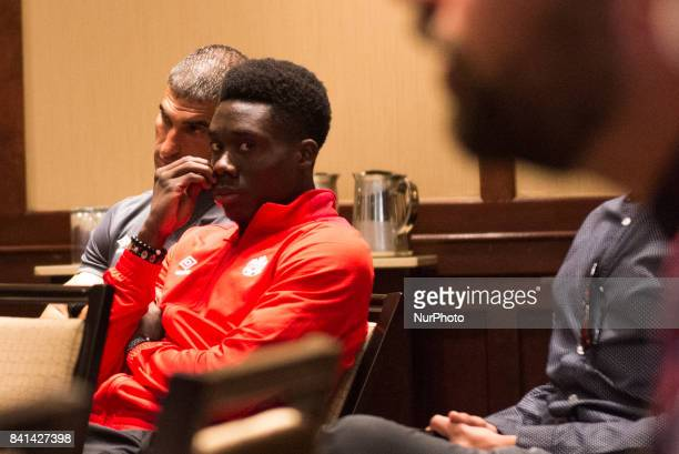 Alphonso Davies Mens National Team player during media conference in Toronto before the CanadaJamaica Mens International Friendly match at BMO Field...