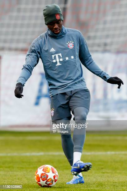 Alphonso Davies of Bayern Muenchen controls the ball during a Bayern Muenchen training session at training grounds on the Saebener Strasse on March...