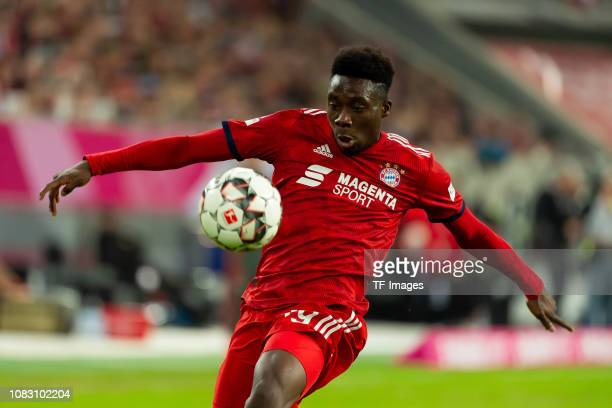 Alphonso Davies of Bayern Muenchen controls the ball during the Telekom Cup 2019 Final between FC Bayern Muenchen and Borussia Moenchengladbach at...