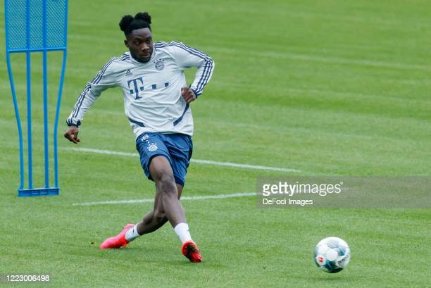 Alphonso Davies of Bayern Muenchen controls the ball during the FC Bayern Muenchen Training Session on May 05 2020 in Muenchen Germany