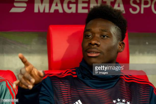 Alphonso Davies of Bayern Muenchen gestures during the Telekom Cup Semifinal match between Fortuna Duesseldorf and Bayern Muenchen at Merkur...
