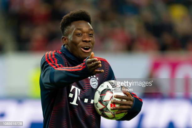 Alphonso Davies of Bayern Muenchen gestures prior to the Telekom Cup Semifinal match between Fortuna Duesseldorf and Bayern Muenchen at Merkur...