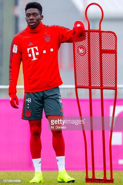 Alphonso Davies of Bayern Muenchen is seen during his first training session at FC Bayern training ground Saebener Strasse on November 21 2018 in...