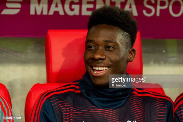 Alphonso Davies of Bayern Muenchen laughs during the Telekom Cup Semifinal match between Fortuna Duesseldorf and Bayern Muenchen at Merkur SpielArena...