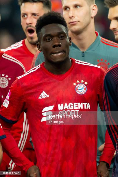 Alphonso Davies of Bayern Muenchen looks on after winning the Telekom Cup 2019 Final between FC Bayern Muenchen and Borussia Moenchengladbach at...