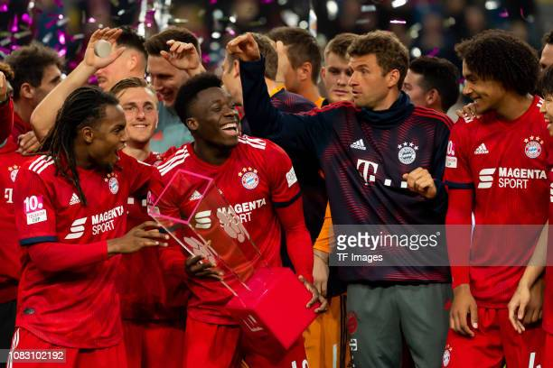Alphonso Davies of Bayern Muenchen with the cup after the Telekom Cup 2019 Final between FC Bayern Muenchen and Borussia Moenchengladbach at Merkur...