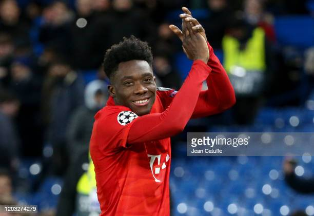 Alphonso Davies of Bayern Munich celebrates the victory following the UEFA Champions League round of 16 first leg match between Chelsea FC and FC...