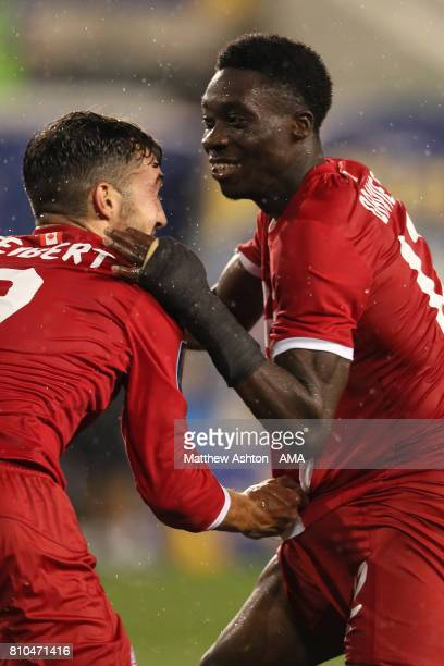 Alphonso Davies of Canada celebrates scoring a goal to make the score 24 during the 2017 CONCACAF Gold Cup Group A match between French Guiana and...