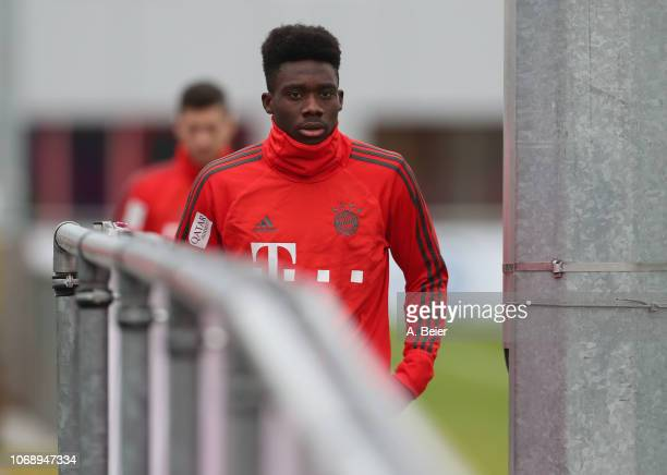 Alphonso Davies of FC Bayern Muenchen arrives for a training session at Saebener Strasse training ground on December 6 2018 in Munich Germany