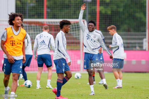 Alphonso Davies of FC Bayern Muenchen celebrates during a training session at Saebener Strasse training ground on May 28 2020 in Munich Germany