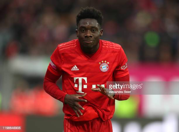 Alphonso Davies of FC Bayern Muenchen celebrates his first goal during a friendly match between 1 FC Nuernberg and FC Bayern Muenchen at...