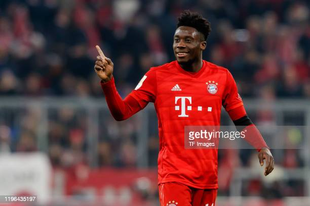 Alphonso Davies of FC Bayern Muenchen gestures during the Bundesliga match between FC Bayern Muenchen and FC Schalke 04 at Allianz Arena on January...