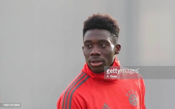 Alphonso Davies of FC Bayern Muenchen is pictured during a training session at the club's Saebener Strasse training ground on November 22 2018 in...