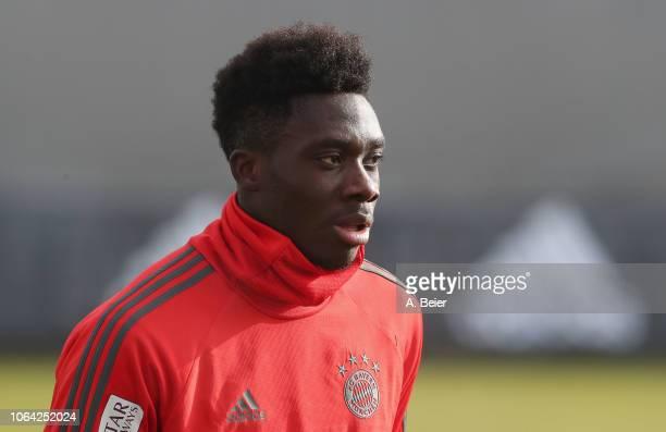 Alphonso Davies of FC Bayern Muenchen practices at the club's Saebener Strasse training ground on November 22 2018 in Munich Germany