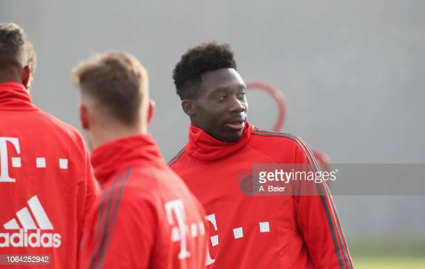 Alphonso Davies of FC Bayern Muenchen practices during a training session at the club's Saebener Strasse training ground on November 22 2018 in...