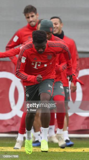 Alphonso Davies of FC Bayern Muenchen practices during a training session at Saebener Strasse training ground on December 6 2018 in Munich Germany