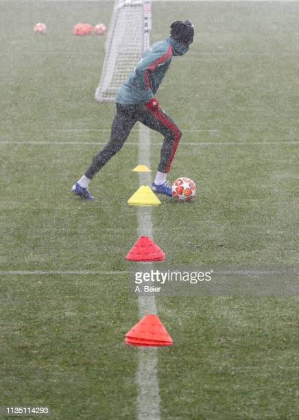 Alphonso Davies of FC Bayern Muenchen practices during a training session at the club's Saebener Strasse training ground on March 11 2019 in Munich...