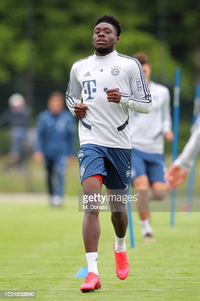 Alphonso Davies of FC Bayern Muenchen runs during a training session at FC Bayern Campus on May 14 2020 in Munich Germany FC Bayern Muenchen will...