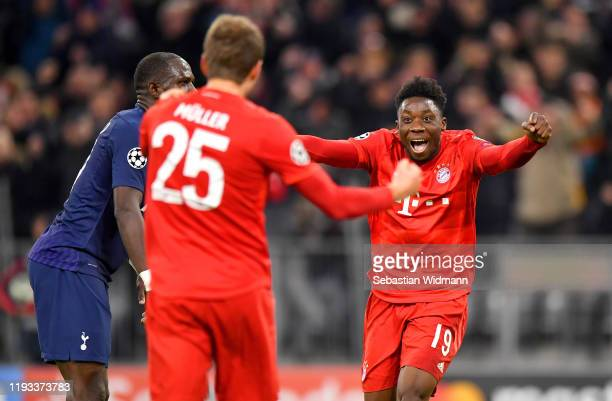 Alphonso Davies of FC Bayern Munich celebrates the team's second goal scored by Thomas Muller of FC Bayern Munich during the UEFA Champions League...