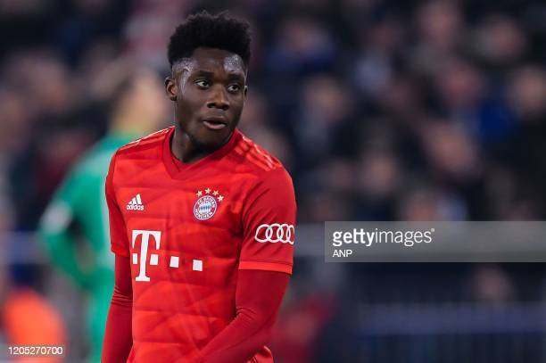 Alphonso Davies of FC Bayern Munich during the German DFB Pokal quarter final match between FC Schalke 04 and Bayern Munich at the Veltins Arena on...