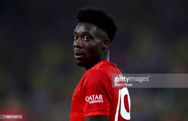 Alphonso Davies of München looks on during the DFL Supercup 2019 match between Borussia Dortmund and FC Bayern München at Signal Iduna Park on August...