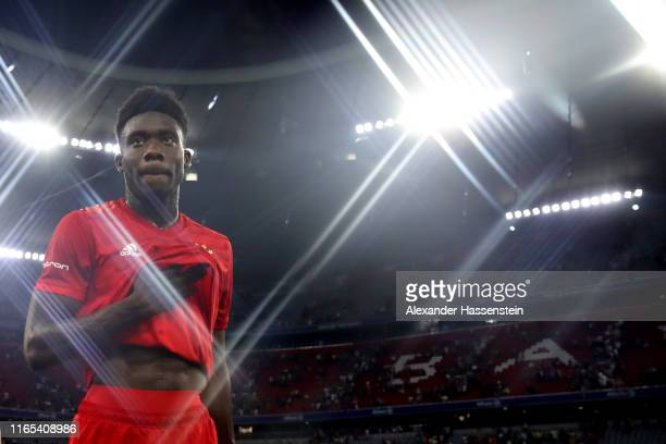 Alphonso Davies of Muenchen looks on after for the Audi Cup 2019 semi final match between FC Bayern Muenchen and Fenerbahce at Allianz Arena on July...