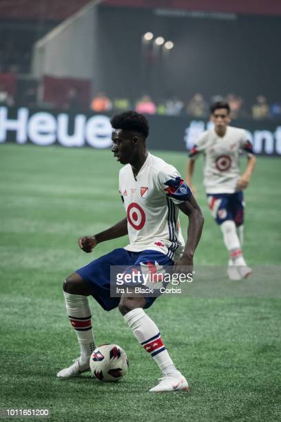 Alphonso Davies of the MLS AllStars shows off his footwork during the MLS All Star soccer match between Major League Soccer All Stars and Juventus FC...