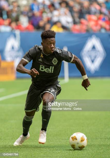 Alphonso Davies of the Vancouver Whitecaps against FC Dallas at BC Place on September 23 2018 in Vancouver Canada