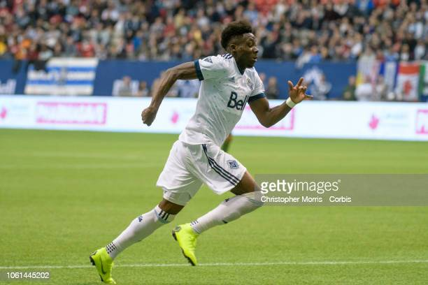 Alphonso Davies of the Vancouver Whitecaps against the Portland Timbers at BC Place on October 28 2018 in Vancouver Canada