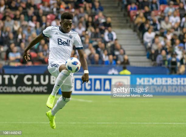 Alphonso Davies of the Vancouver Whitecaps against the the Portland Timbers at BC Place on October 28 2018 in Vancouver Canada