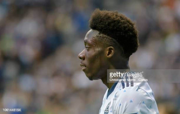 Alphonso Davies of the Vancouver Whitecaps at BC Place on October 28 2018 in Vancouver Canada