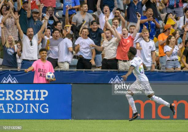 Alphonso Davies of the Vancouver Whitecaps celebrates his goal against Minnesota United at BC Place on July 28 2018 in Vancouver Canada