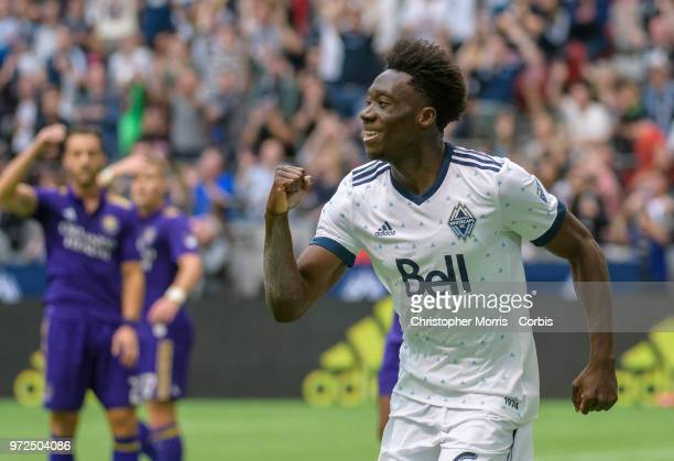 Alphonso Davies of the Vancouver Whitecaps celebrates his goal during a match between Orlando City SC and Vancouver Whitecaps FC at BC Place on June...