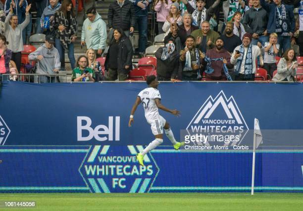 Alphonso Davies of the Vancouver Whitecaps celebrates his second goal against the the Portland Timbers at BC Place on October 28 2018 in Vancouver...
