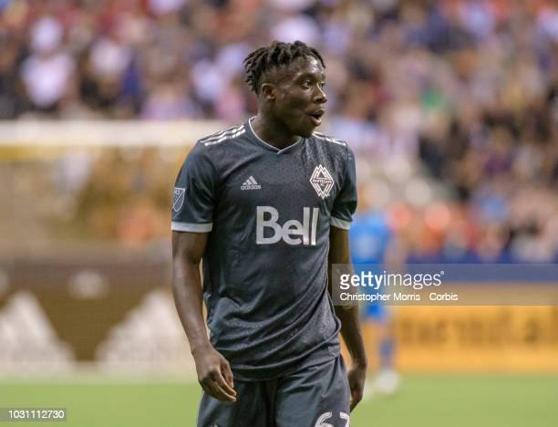 Alphonso Davies of the Vancouver Whitecaps during play against the San Jose Earthquakes at BC Place on September 1 2018 in Vancouver Canada
