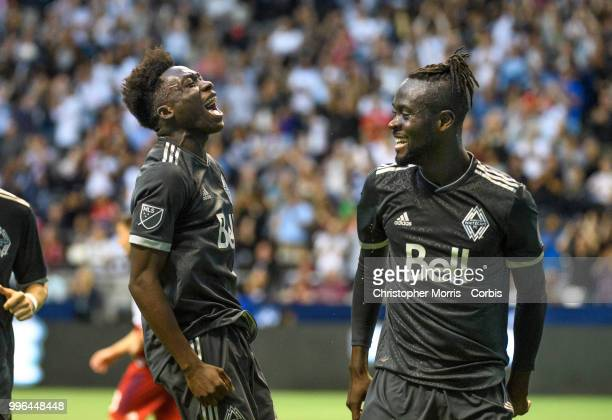 Alphonso Davies of the Vancouver Whitecaps FC reacts after Kei Kamara of the Vancouver Whitecaps FC scores against the the Chicago Fire at BC Place...