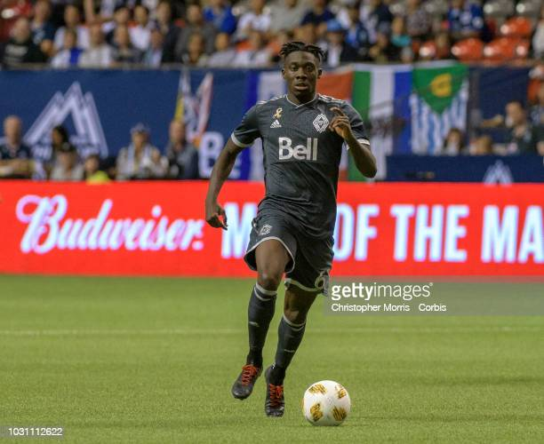 Alphonso Davies of the Vancouver Whitecaps plays the ball against the San Jose Eathquakes at BC Place on September 1 2018 in Vancouver Canada