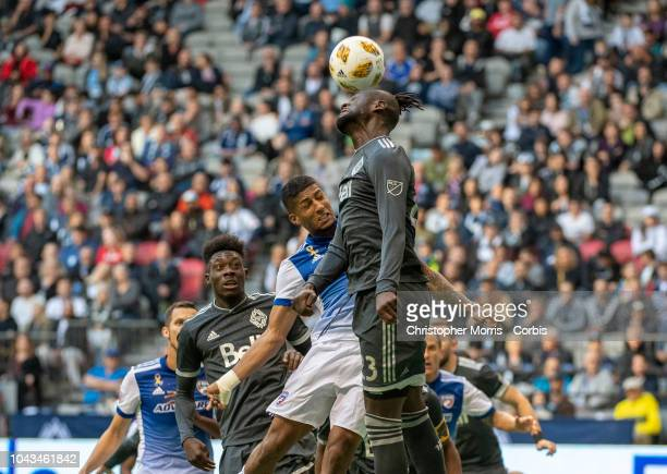 Alphonso Davies of the Vancouver Whitecaps Santiago Mosquera of FC Dallas and Kei Kamara of the Vancouver Whitecaps at BC Place on September 23 2018...