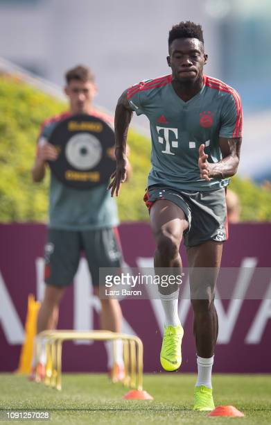 Alphonso Davies trains during a training session at day four of the Bayern Muenchen training camp at Aspire Academy on January 07 2019 in Doha Qatar