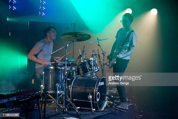 Alphonso Sharland and Martin Skarendahl of The Hoosiers performs on stage at O2 Arena on July 23 2011 in London United Kingdom