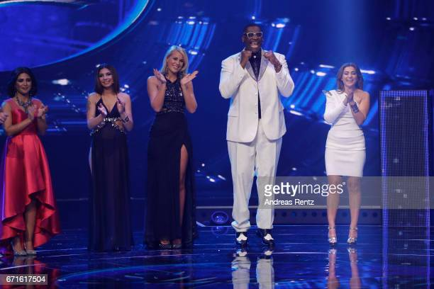 Alphonso Williams Chanelle Wyrsch Monique Simon Maria Voskania Duygu Goenel pose after the third event show of the tv competition 'Deutschland sucht...