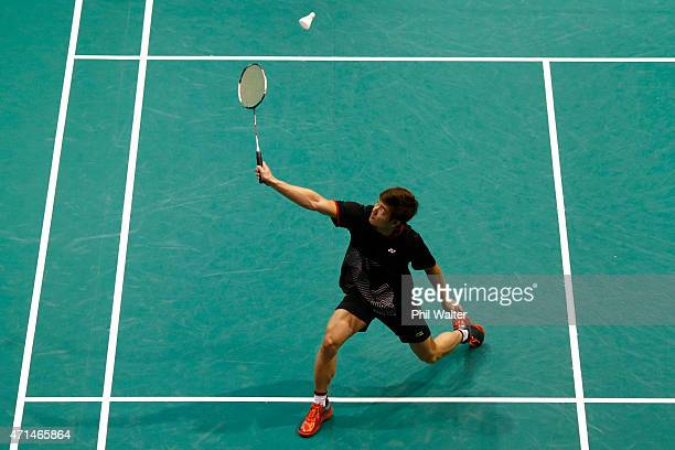 Alphonsus Ng of Australia plays a return to Cham Chen of Australia during their mens singles match in the 2015 Badminton Open at the North Shore...