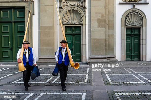 Alphorn players outside Jesuit Church